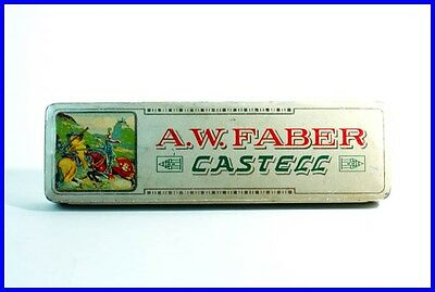 1930er A.W. FABER-CASTELL Blech Box LEER! / empty tin box with fighting kights