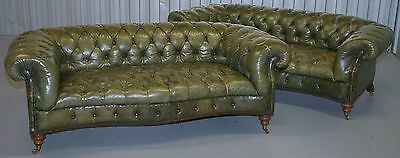 Pair Of Extremely Rare Howard & Sons Style Victorian Chesterfield Leather Sofas