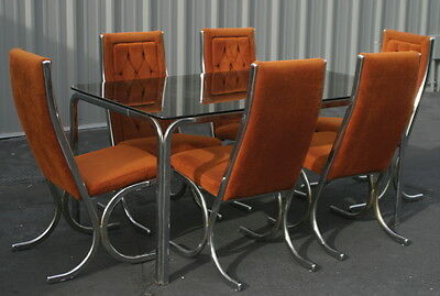 Milo Baughman for Howell/Burd chrome smoked glass table + 6 orange dining chairs
