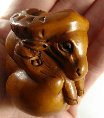 Japanese Netsuke Carved Wood Figure Signed 'sitting Buffalo' Unusual
