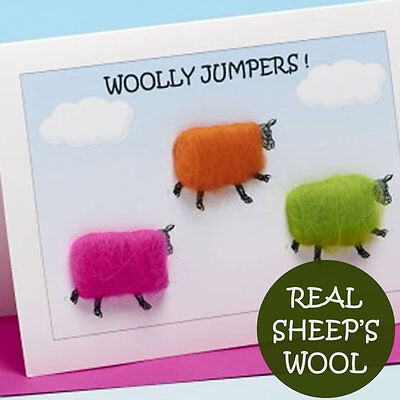 """Handmade card with real sheep wool - """"Woolly jumpers"""""""
