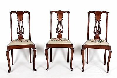 3 Antique Dining Chairs Chippendale English Mahogany Set Three Chairs Needlework