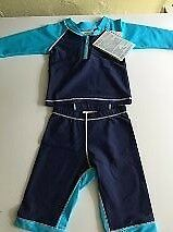 Rash/UV protection baby blueberry/turquoise two piece suit - 3-6 months - NEW