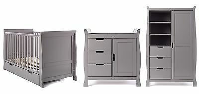 Obaby Lincoln Sleigh Cotbed 4 Piece Nursery Furniture Room Set - Taupe Grey