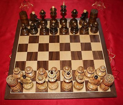 Kazakh Hand-Made Wooden Chess Set with Board
