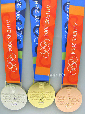 2004 Athens Olympic Gold Silver Bronze Medals/Ribbons Complete Set