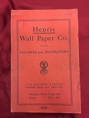 VTG 1912 Antique Wallpaper Sample Book Henris Wall Paper Co Hand Stamped Detroit