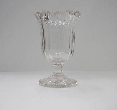 Heavy Quality Cut Crystal Vase with decorated and flared lip on circular base