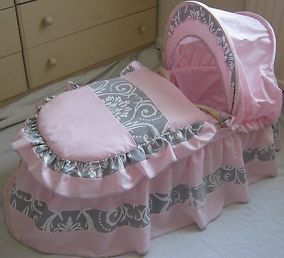 Pink With Grey  + White Damask  Moses Basket Cover Set By Babyfanzone