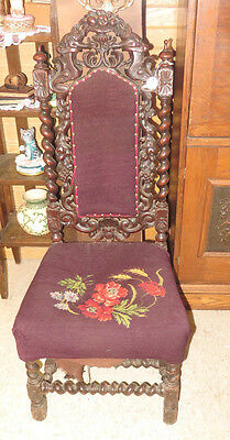 French Renaissance Carved Antique Black Oak Barley Twist Needlepoint Side Chair