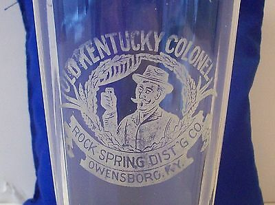Antique Liquor Advertising Glass Old Kentucky Colonel Rock Spring Dist. Owensbor