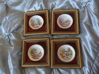 Staffordshire England Four Seaons Miniture Plates Mounted