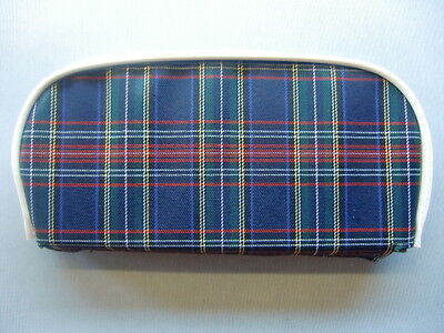 Blue Tartan/ White Boarder Scooter Back Rest Cover (Purse Style)