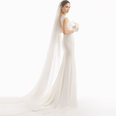 HANDMADE New ivory 1T 2m Long Wedding Bridal Cathedral Veil With Comb Clear Cut