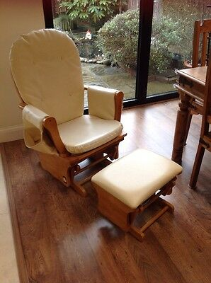 Nursing Glider Rocking Chair With Footstool Leather Tutti Bambini