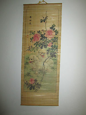 """Antique Chinese Scroll Painting in Thin Wood Roses/Dogs  33"""" x 12 1/2"""""""