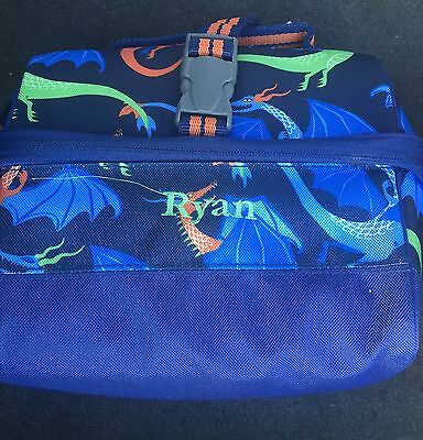 NEW POTTERY BARN Kids Blue DRAGON Retro Lunch Bag RYAN Mono SOLD OUT