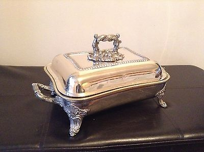 Roberts & Hall Antique 4 Piece Footed Entree Serving Dish Armorial Crested Rare