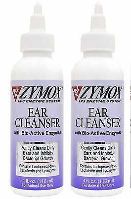 2 x Zymox Ear Cleanser for Cats /Dogs LP3 Enzyme  Cleans Dirty ears  Otic Drops