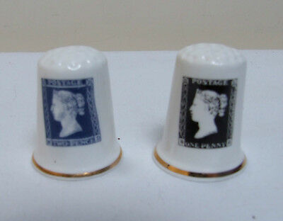 2 China Thimbles Collectable Postage Stamps Two Penny Blue & Penny Black