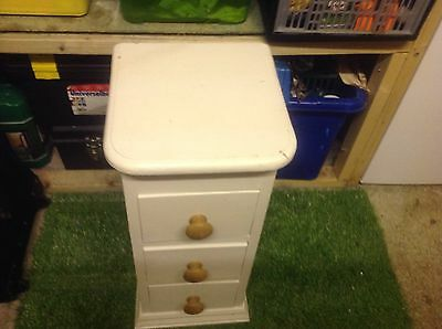 Painted cream 3 drawer bedside unit drawers table cabinet solid pine wood