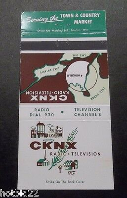 Cknx Wingham On Canada Matchbook Cover Radio Television Station Vintage
