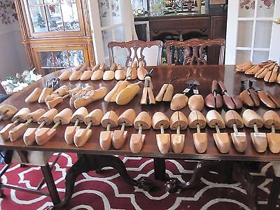 Large lot of wooden shoe forms