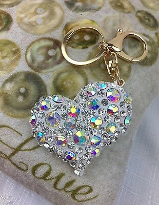 New Latest Fashion MultiColored Rhinestone Heart Keyring/Bag Charm..IDEAL GIFT.!