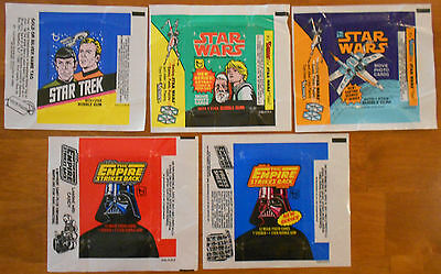 46 Different Wrappers - 1970's + 1980's - Star Wars, Trek, Alien, Hulk, Dukes...