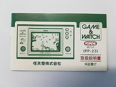 Vintage, Retro, Collectible Nintendo GAME & WATCH GENUINE POPEYE INSTRUCTIONS