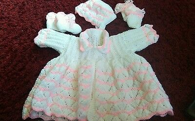 Babies hand knitted matinee set knitted white and pink doublt knit 3/6 mths