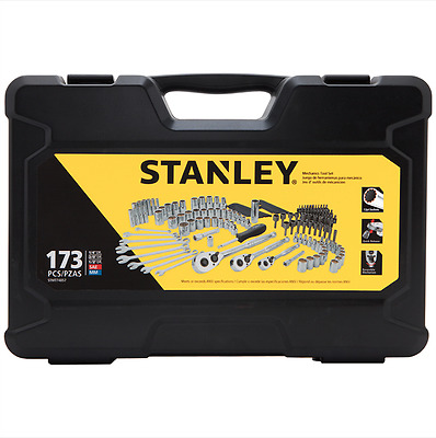 New Stanley Case Kit Mechanics Tool Set, Metric Wrenches Sockets Sae 173 Piece