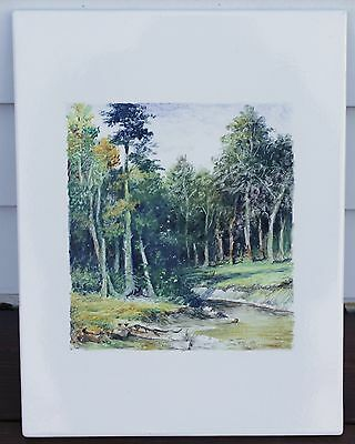 Oil Painting On Enameled Metal - Treed Landscape - Not Signed