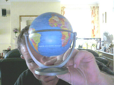 Mini Rotating World Atlas Globe Own Axis Great Gift!