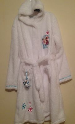 Girls Disney Frozen Fleece Hooded Dressing Gown Elsa & Anna Olaf Robe Age 3-15