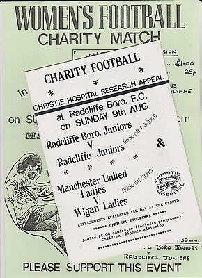 CHARITY MATCH MANCHESTER UNITED LADIES v WIGAN LADIES 9 AUG 1991 + POSTER. EXC.C