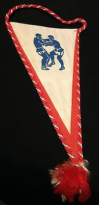 Vintage Sambo Sombo Wrestling triangular pennant banner 8 inch deep 4 inch acros