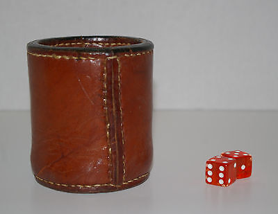 Vintage Leather Stitched Dice Cup