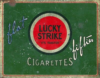 """Vintage 1940s WWII LUCKY STRIKE """"It's Toasted"""" CIGARETTE TIN flat fifties"""