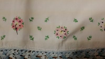 Single Vintage Blue Crochet Floral Hand Embroidery Pillowcase Free Shipping