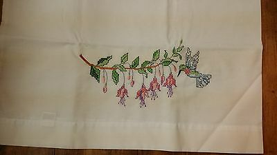 Single Vintage Floral Hummingbird Hand Embroidery Pillowcase Free Shipping