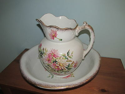 Vintage Wash Basin Bowl & Water Pitcher White with Flowers (J)