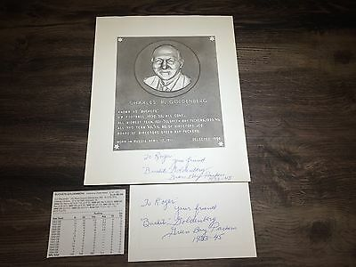 BUCKETS GOLDENBERG Green Bay 1933-45  WISCONSIN Signed Card & Signed WI HOF Card