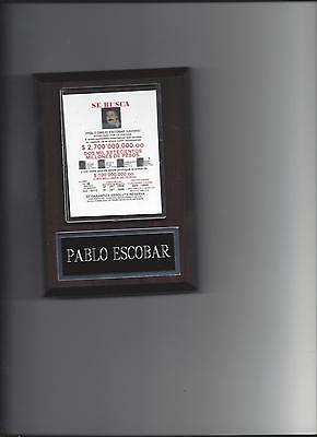 Pablo Escobar Wanted Poster Plaque Organized Crime Colombian Drug Lord Cartel