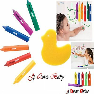 6 x Washable Bath Crayons Baby Safe Colours Non Toxic Fun Kids Toys Arts Crafts