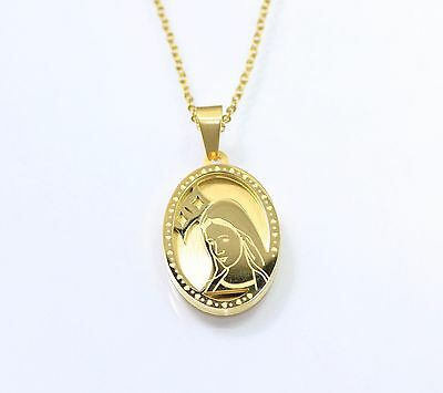 "18K Gold 316L Stainless Steel Blessed Virgin Mary Pendant 20"" Necklace Chain"
