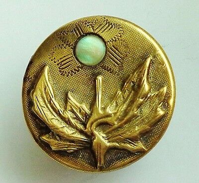 ANTIQUE BRASS FLORAL PICTURE BUTTON w PEARL SHELL INLAY