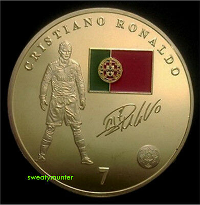 Cristiano Ronaldo Real Madrid Gold Coin Portugal 7 World Cup Icon Signed