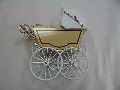 Heidi Ott Dollhouse Miniature Light 1:12 Scale Doll's Pram White #XZ117