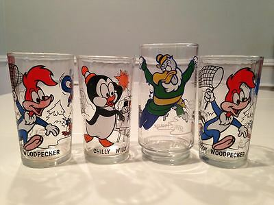 PEPSI COLLECTOR SERIES GLASSES 1970s. WOODY WOODPECKER, CHILLY WILLY